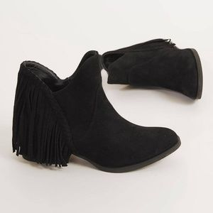 B2G1 Not Rated Braxton Faux Suede Fringe Booties